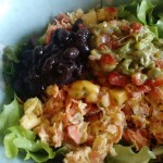 Salad Eggs with Smoked Salmon, Black Beans and Salsa