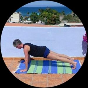 Pilates push up core strength, spine mobility